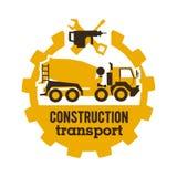 Misturadores concretos do logotipo, veículos da construção Equipamento especial, caminhão A ferramenta para o trabalho Broca, cha ilustração royalty free
