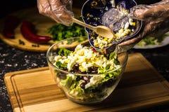 Misturando os ingredientes da salada do feijão preto, da alface, dos ovos e da pimenta doce em uma bacia de vidro imagem de stock royalty free