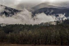 Mistvlotters rond de bergen en de gebieden van Cades-Inham Stock Foto