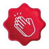 Misty ροζ κουμπί αυτοκόλλητων ετικεττών starburst εικονιδίων χειροκροτήματος χεριών διανυσματική απεικόνιση