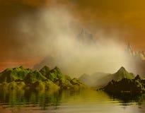 misty ωκεανός βουνών Στοκ Εικόνες