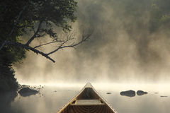λίμνη κωπηλασίας σε κανό misty Στοκ Φωτογραφία