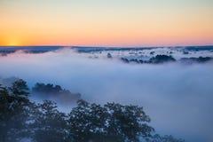 Αυγή της Misty πέρα από την κοιλάδα και το δάσος Στοκ Εικόνα
