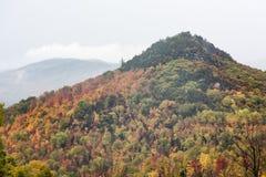 Misty Adirondack Mountain im Herbst Stockbild