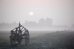 Misty afternoon in countryside stock images