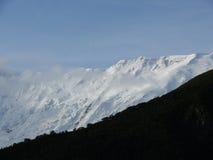 Misty Annapurna IV Himalayan-Piek tijdens Moesson royalty-vrije stock foto