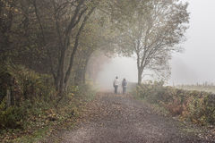 Misty Autumn Day dans Derbyshire Images libres de droits