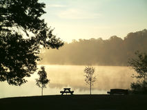 Misty autumn morning. Heavy fog forming at the lake on an early autumn morning Stock Images