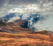 Misty autumn morning near the famous Koruldi lakes. Stock Photography