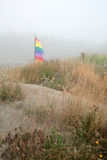 Misty Beach Scene-01. Beach grass and a flag on a misty day in Moclips Royalty Free Stock Images