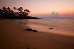 Misty beach in South Maui Stock Image