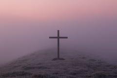 Misty Black Cross Stock Photography