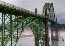 Misty bridge HDR with foreground Royalty Free Stock Images