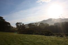 Misty cadair idris valley in snowdonia national park Stock Image