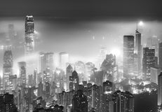 Misty city night view Royalty Free Stock Image