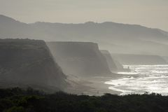 Misty Coastal Cliffs. Early morning at Point Reyes National Seashore Stock Image