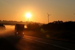 Free Misty Country Road With Truck Royalty Free Stock Photography - 4747317