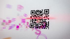 Hazy QR code scanner illustration. Misty 3d illustration of an abstract QR code scanning practice with dashing symbols, numbers, figures of a rosy color. In the Stock Photo