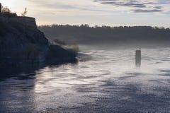 Misty Danube River Sunrise Royalty Free Stock Images