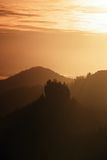 Misty dawn from hill over beautiful Valley and the forest Royalty Free Stock Photos