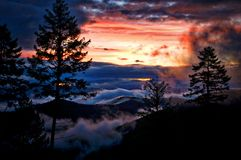 Misty Dawn Montana Mountains Immagini Stock Libere da Diritti