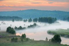 Misty dawn on the river. Heavy fog royalty free stock photo