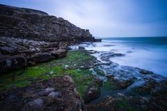 Misty Dorset coastline Stock Image