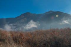 Misty dreamy mountain landscape. Deep Autumn fog Stock Photos