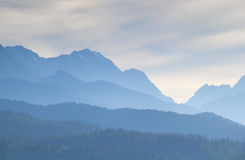 Misty dusk in Karwendel mountain range Stock Image