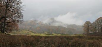 Misty Elterwater Lake District National parkerar Arkivfoton