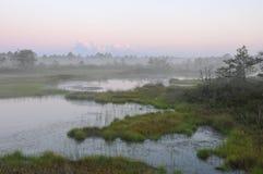 Misty evening in Kakerdaja Bog. After sunset stock images
