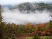 Misty Fall morning. Fall morning in New England stock image