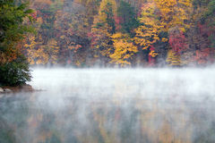 Misty Fall Morning larger lake. A misty fall morning on a small lake Royalty Free Stock Photo