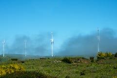 Misty Flat Plateau område med vindturbiner i bergen i norden av ön av madeiran Arkivfoton