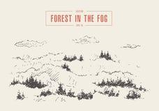 Misty fog pine forest mountain vector drawn sketch stock illustration
