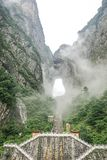 Tianmen Mountain National Forest Park. Misty and foggy Tianmen Mountain in Zhangjiajie, China royalty free stock photography