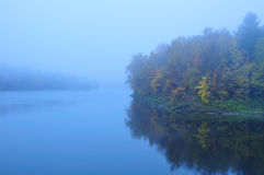 Misty Foggy Vermont Pond in the Fall. Autumn Mist and Fog at Vermont Goshen Pond Stock Photo