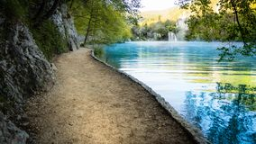 Misty Waterfall and Lake within the colorful Plitvice National Park in Croatia stock photo