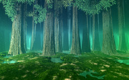 Misty forest with giant fir trees, hills, still water and green air perspective. 3d illustration Stock Photos