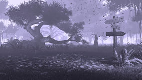 Misty forest with grim reaper silhouette monochrome Stock Image