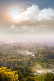 Misty forest hill with sun and clouds Royalty Free Stock Images