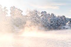 Misty frozen lake at sunrise Royalty Free Stock Photography