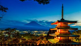 Misty Fuji Mountain and Chureito Pagoda in sunset time viewed from, Fujiyoshida, Japan.  royalty free stock photography