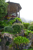Misty Gardens. A wooden gazebo at the top of a tiered garden near the Bom Jesus Church in Braga, Portugal Royalty Free Stock Photo