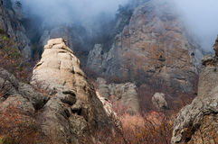 Misty Ghost valley in Crimea mountains Stock Image