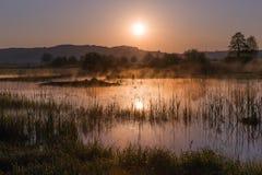 Misty Golden Sunrise Reflecting sobre el lago en primavera fotos de archivo libres de regalías