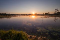 Misty Golden Sunrise Reflecting sobre o lago na mola foto de stock royalty free