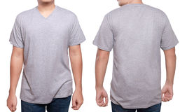 Misty Grey V-Neck shirt design template. Misty Grey t-shirt mock up, front and back view, isolated. Male model wear plain gray shirt mockup. V-Neck shirt design Royalty Free Stock Images
