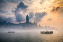 Misty Harbor - Victoria Harbor, Hong Kong Royalty Free Stock Image