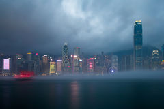 Misty Harbor - Victoria Harbor, Hong Kong Stock Images